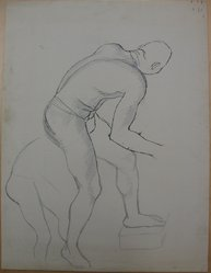 James Brooks (American, 1906-1992). [Untitled] (Nude Figure Bending), n.d. Graphite and ink on paper, Sheet: 21 x 16 in. (53.3 x 40.6 cm). Brooklyn Museum, Gift of Charlotte Park Brooks in memory of her husband, James David Brooks, 1996.54.178. © artist or artist's estate