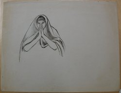James Brooks (American, 1906-1992). [Untitled] (Woman in Shroud and Hands in Prayer), n.d. Ink on paper, Sheet: 18 13/16 x 23 15/16 in. (47.8 x 60.8 cm). Brooklyn Museum, Gift of Charlotte Park Brooks in memory of her husband, James David Brooks, 1996.54.181. © artist or artist's estate