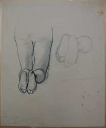 James Brooks (American, 1906-1992). [Untitled] (Legs Kneeling and Feet), n.d. Ink and graphite on paper, Sheet: 16 15/16 x 13 7/8 in. (43 x 35.2 cm). Brooklyn Museum, Gift of Charlotte Park Brooks in memory of her husband, James David Brooks, 1996.54.191. © artist or artist's estate