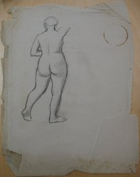 James Brooks (American, 1906-1992). [Untitled] (Full Length Nude Woman as Seen from Behind), n.d. Charcoal on paper, Sheet (irregular): 23 3/4 x 18 5/16 in. (60.3 x 46.5 cm). Brooklyn Museum, Gift of Charlotte Park Brooks in memory of her husband, James David Brooks, 1996.54.198. © artist or artist's estate