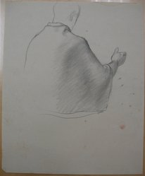 James Brooks (American, 1906-1992). [Untitled] (Upper Half of Figure Draped in Cloth as Seen from Behind, n.d. Graphite on paper, Sheet: 16 15/16 x 13 7/8 in. (43 x 35.2 cm). Brooklyn Museum, Gift of Charlotte Park Brooks in memory of her husband, James David Brooks, 1996.54.205. © artist or artist's estate