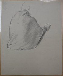 James Brooks (American, 1906-1992). [Untitled] (Back Draped in Cloth), n.d. Charcoal on paper, Sheet: 16 15/16 x 13 7/8 in. (43 x 35.2 cm). Brooklyn Museum, Gift of Charlotte Park Brooks in memory of her husband, James David Brooks, 1996.54.210. © artist or artist's estate
