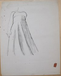 James Brooks (American, 1906-1992). [Untitled] (Female Torso in Gown), n.d. Ink and charcoal on paper, Sheet (irregular): 23 7/8 x 18 13/16 in. (60.6 x 47.8 cm). Brooklyn Museum, Gift of Charlotte Park Brooks in memory of her husband, James David Brooks, 1996.54.224. © artist or artist's estate