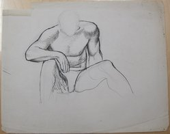 James Brooks (American, 1906-1992). [Untitled] (Seated Male in Briefs), n.d. Ink and graphite on paper, Sheet (irregular): 18 13/16 x 23 11/16 in. (47.8 x 60.2 cm). Brooklyn Museum, Gift of Charlotte Park Brooks in memory of her husband, James David Brooks, 1996.54.225. © artist or artist's estate