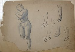 James Brooks (American, 1906-1992). [Untitled] (Nude Female Figure and Five Slippered Feet), n.d. Ink and graphite on paper, Sheet (irregular): 16 3/16 x 23 7/8 in. (41.1 x 60.6 cm). Brooklyn Museum, Gift of Charlotte Park Brooks in memory of her husband, James David Brooks, 1996.54.233. © artist or artist's estate