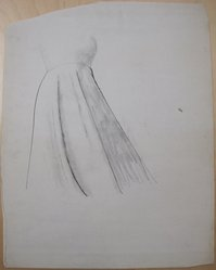 James Brooks (American, 1906-1992). [Untitled] (Gown), n.d. Ink and charcoal on paper, Sheet: 23 15/16 x 18 13/16 in. (60.8 x 47.8 cm). Brooklyn Museum, Gift of Charlotte Park Brooks in memory of her husband, James David Brooks, 1996.54.234. © artist or artist's estate