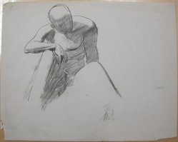 James Brooks (American, 1906-1992). [Untitled] (Figure Sitting in Repose), n.d. Ink and charcoal on paper, Sheet: 18 13/16 x 23 11/16 in. (47.8 x 60.2 cm). Brooklyn Museum, Gift of Charlotte Park Brooks in memory of her husband, James David Brooks, 1996.54.237. © artist or artist's estate