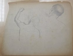 James Brooks (American, 1906-1992). [Untitled] (Two Studies Back of a Head and Back with Upraised Left Arm), n.d. Graphite on paper, Sheet (irregular): 17 7/8 x 23 in. (45.4 x 58.4 cm). Brooklyn Museum, Gift of Charlotte Park Brooks in memory of her husband, James David Brooks, 1996.54.242. © artist or artist's estate