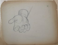 James Brooks (American, 1906-1992). [Untitled] (Recto: Large Hand Open Palm Facing Up; Verso: Nude Female Line Drawings), n.d. Graphite on paper (recto); Charcoal on paper (verso), Sheet (Recto - irregular): 17 7/8 x 23 1/16 in. (45.4 x 58.6 cm). Brooklyn Museum, Gift of Charlotte Park Brooks in memory of her husband, James David Brooks, 1996.54.244a-b. © artist or artist's estate