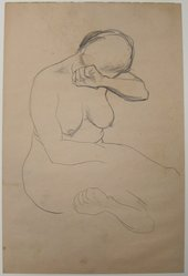 James Brooks (American, 1906-1992). [Untitled] (Nude Female), n.d. Graphite on paper, Sheet: 17 3/4 x 11 13/16 in. (45.1 x 30 cm). Brooklyn Museum, Gift of Charlotte Park Brooks in memory of her husband, James David Brooks, 1996.54.3. © artist or artist's estate