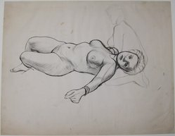James Brooks (American, 1906-1992). [Untitled] (Recto: Nude Female; Verso: Kneeling Nude), n.d. Ink on paper, Sheet (recto): 18 13/16 x 23 15/16 in. (47.8 x 60.8 cm). Brooklyn Museum, Gift of Charlotte Park Brooks in memory of her husband, James David Brooks, 1996.54.33a-b. © artist or artist's estate