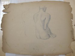 James Brooks (American, 1906-1992). [Untitled] (Seated Nude), n.d. Graphite on paper, Sheet: 17 7/8 x 23 1/4 in. (45.4 x 59.1 cm). Brooklyn Museum, Gift of Charlotte Park Brooks in memory of her husband, James David Brooks, 1996.54.97. © artist or artist's estate