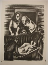 Riva Helfond (American, 1910-2002). Homecoming, 1936/1939. Lithograph on paper, Sheet: 17 13/16 x 12 3/4 in. (45.2 x 32.4 cm). Brooklyn Museum, Purchase gift of The Richard Florsheim Art Fund, 1998.158.2. © artist or artist's estate
