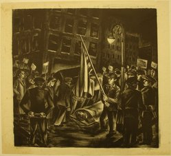 Riva Helfond (American, 1910-2002). Protest (recto) and Zinnias (verso), 1940. Lithograph on paper, Sheet: 16 11/16 x 18 1/2 in. (42.4 x 47 cm). Brooklyn Museum, Purchase gift of The Richard Florsheim Art Fund, 1998.158.3a-b. © artist or artist's estate