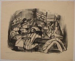 Riva Helfond (American, 1910-2002). Curtain Factory, 1936/1939. Lithograph on paper, Sheet: 16 x 19 1/16 in. (40.6 x 48.4 cm). Brooklyn Museum, Purchase gift of The Richard Florsheim Art Fund, 1998.158.4. © artist or artist's estate