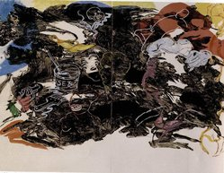 Robert Colescott (American, 1925-2009). Pontchartrain, 1997. Sugar lift, spit bite aquatint, soft-ground etching and drypoint on paper, overall sheet: 46 1/4 x 117 in. (117.5 x 297.2 cm). Brooklyn Museum, Emily Winthrop Miles Fund, 1998.55a-d. © artist or artist's estate