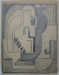 Blanche Lazzell (American, 1879-1956). Sketch for Abstract Composition, 1924. Graphite on cream, thin, smooth paper., Sheet: 10 5/8 x 8 1/4 in. (27 x 21 cm). Brooklyn Museum, Gift of Dr. Abram Kanof and Theodore Keel, by exchange, Charles Stewart Smith Memorial Fund, and Dick S. Ramsay Fund, 2006.43.7. © Estate of Blanche Lazzell