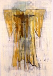 Jaune Quick-to-See Smith (Flathead, Native American, born 1940). Ghost Dance Dress, 2000. Oil, collage and mixed media on canvas, 72 x 48 in. (182.9 x 121.9 cm). Brooklyn Museum, Gift of Dorothee Peiper-Riegraf in honor of Jaune Quick-to-See Smith and Arlene LewAllen (1941-2002), 2006.79. © artist or artist's estate