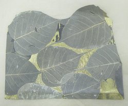 Aviva Stanoff (American, born 1972). Bodhi Leaves with Gold Detail on Leather, 2003. Pigsuede and skeleton leaves with gold foil, 12 1/2 x 9 3/4 in. (31.8 x 24.8 cm). Brooklyn Museum, Gift of the artist in memory of Seth Mirsky , 2011.19.9. © artist or artist's estate