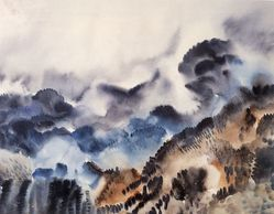 """Hale Woodruff (American, 1900-1980). Rocky Mountain Landscape I, ca.1936. Watercolor on paper, 14 x 18 in. (35.6 x 45.7 cm). Brooklyn Museum, Gift of Auldlyn Higgins Williams and E. T. Williams, Jr. in memory of their parents, Dr. I. Bradshaw Higgins and Hilda Moseley Higgins and Edgar T. """"Ned"""" Williams and Elnora Bing Williams Morris, 2011.29.1. © artist or artist's estate"""