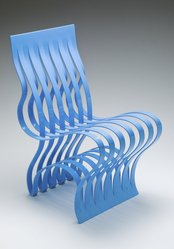 """Vivian Beer (American, born 1977). """"Current"""" Chair, designed 2004, manufactured 2008. Formed and fabricated steel and automotive paint, 32 1/8 x 16 x 22 in. (81.6 x 40.6 x 55.9 cm). Brooklyn Museum, Gift of Mrs. J. Fuller Feder, Marcus S. Friedlander, and Mrs. Clifford D. Mallory in memory of Mr. and Mrs. Henry Rogers Mallory, by exchange, 2012.54. © artist or artist's estate"""