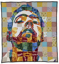 "Luke Haynes (American, born 1982). ""On My Bed #1 Tradition"" Quilt, 2006. Various textiles, 90 x 82 1/2 in. (228.6 x 209.6 cm). Brooklyn Museum, Gift of Abraham & Straus, by exchange, 2012.55. © artist or artist's estate"