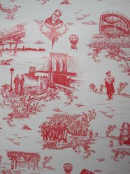 """Mike Diamond. Wallpaper, """"Brooklyn Toile"""" pattern, designed 2012; printed 2012. Printed vinyl, a: 24 1/8 x 27 in. (61.3 x 68.6 cm). Brooklyn Museum, Gift of Flavor Paper, 2012.61.1a-b. © artist or artist's estate"""