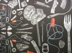 """Stefan Hengst (Dutch, born 1967). Wallpaper, """"NY Trash"""" Pattern, 2012. Metallic printed paper mounted on Foamcore, 48 x 48 x 1/4 in. (121.9 x 121.9 x 0.6 cm). Brooklyn Museum, Gift of Stefan Hengst, 2012.63.1. © artist or artist's estate"""