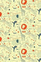 """Nancy Wolff (American, born 1956). Wallpaper, """"Circus"""" Pattern, designed 2011. Printed paper, a. small piece: 26 5/8 x 27 in. (67.6 x 68.6 cm). Brooklyn Museum, Gift of Loboloup, 2012.65.1a-b. © artist or artist's estate"""