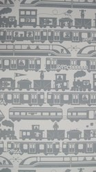 "Aimée Wilder (American, born 1979). Wallpaper, ""Robo Rail"" pattern, designed 2011, released 2012. Printed paper, a: 44 3/4 x 28 1/8 in. (113.7 x 71.4 cm). Brooklyn Museum, Gift of Aimée Wilder, 2012.67.5a-d. © artist or artist's estate"