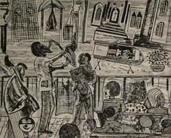 Vincent DaCosta Smith (American, 1929-2004). A Moment Supreme, 1972. Drypoint etching on paper, plate: 8 3/4 x 10 3/4 in. (22.2 x 27.3 cm). Brooklyn Museum, Gift of R.M. Atwater, Anna Wolfrom Dove, Alice Fiebiger, Joseph Fiebiger, Belle Campbell Harriss, and Emma L. Hyde, by exchange, Designated Purchase Fund, Mary Smith Dorward Fund, Dick S. Ramsay Fund, and  Carll H. de Silver Fund, 2012.80.10. © artist or artist's estate