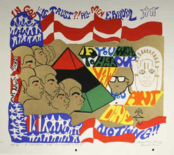 Napoleon Jones-Henderson (American, born 1943). A Few Words From the Prophet Stevie, 1976. Screenprint on paper, Sheet: 18 x 19 1/2 in. (45.7 x 49.5 cm). Brooklyn Museum, Gift of R.M. Atwater, Anna Wolfrom Dove, Alice Fiebiger, Joseph Fiebiger, Belle Campbell Harriss, and Emma L. Hyde, by exchange, Designated Purchase Fund, Mary Smith Dorward Fund, Dick S. Ramsay Fund, and  Carll H. de Silver Fund, 2012.80.22. © artist or artist's estate