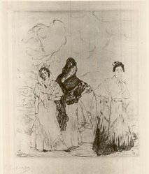 Ignacio Zuloaga y Zabaleta (Spanish, 1870-1945). Three Spanish Women. Etching on heavy Japan paper, 8 7/8 x 8 1/4 in. (22.5 x 21 cm). Brooklyn Museum, Museum Collection Fund, 24.379. © artist or artist's estate