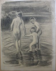 Mons Breidvik (American, 1881-1950). Children Bathing, 1925. Chalk or charcoal on paper, Sheet: 29 3/4 x 22 7/8 in. (75.6 x 58.1 cm). Brooklyn Museum, Museum Collection Fund, 26.421. © artist or artist's estate