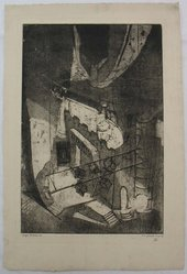 Eugene C. Fitsch (American, 1892-1972). Light Rehearsal, 1927. Aquatint, Image: 11 13/16 x 7 15/16 in. (30 x 20.1 cm). Brooklyn Museum, Gift of the artist, 28.426. © artist or artist's estate