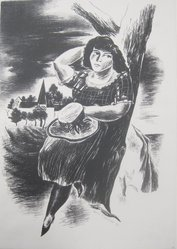 Yasuo Kuniyoshi (American, born Japan, 1889-1953). Girl Leaning Against a Tree, 1927. Lithograph on paper, Sheet: 15 13/16 x 11 9/16 in. (40.2 x 29.4 cm). Brooklyn Museum, 28.763. © artist or artist's estate