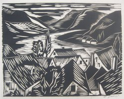 Emil Ganso (American, 1895-1941). View of River. Block print on white wove paper, 11 1/8 x 14 5/8 in. (28.3 x 37.2 cm). Brooklyn Museum, Frank Sherman Benson Fund, 29.1275. © artist or artist's estate