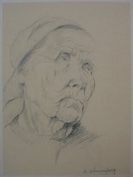 Israel Abramofsky (American, 1888-1975). The Fisherwoman, n.d. Graphite on paper mounted to backing paper, Sheet (drawing): 9 3/8 x 7 in. (23.8 x 17.8 cm). Brooklyn Museum, Gift of L. H. Mark, 31.190. © artist or artist's estate