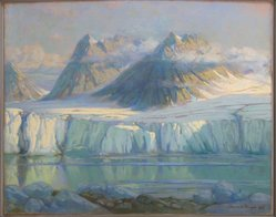 Hans W. Meyer (American). Gully Glacier, Magdalena Bay, Spitzbergen, 1928. Pastel on paperboard, Image: 27 3/8 x 33 7/16 in. (69.5 x 85 cm). Brooklyn Museum, Gift of a group of students of Packer Collegiate Intitute, 32.102. © artist or artist's estate