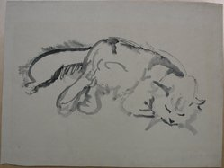 Helen West Heller (American, 1872-1955). Cat, 1932. Brush and ink sketch on paper, Sheet: 13 1/16 x 17 5/16 in. (33.2 x 44 cm). Brooklyn Museum, Museum Collection Fund, 32.477. © artist or artist's estate