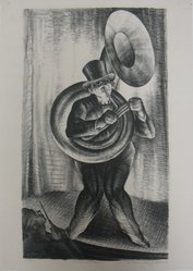 Alexander Zerdini Kruse (American, 1888-1972). Musical Clown, 20th century. Lithograph on white wove paper, Sheet: 15 3/4 x 11 3/16 in. (40 x 28.4 cm). Brooklyn Museum, Gift of George Z. Medalie, 33.136.5. © artist or artist's estate