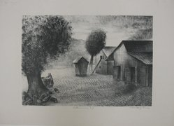 Alexander Zerdini Kruse (American, 1888-1972). Robbinsville, N.J., 20th century. Lithograph on white wove paper, Sheet: 14 x 19 3/8 in. (35.6 x 49.2 cm). Brooklyn Museum, Gift of George Z. Medalie, 33.136.9. © artist or artist's estate