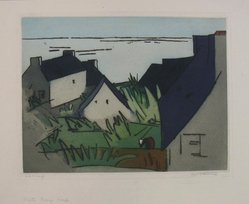 Augusta Rathbone (American, 1897-1990). Briton Fishing Village, 20th century. Etching and aquatint in color on cream-colored wove paper, Sheet: 13 x 19 7/8 in. (33 x 50.5 cm). Brooklyn Museum, Frank Sherman Benson Fund, 33.159. © artist or artist's estate