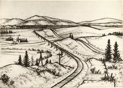 Andrew R. Butler (American, 1896-ca.1979). Mount Holly, Vermont, 1933. Etching and drypoint on white laid paper, 7 7/16 x 10 7/16 in. (18.9 x 26.5 cm). Brooklyn Museum, Museum Collection Fund, 35.831. © artist or artist's estate