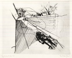 Stanley William Hayter (British, 1901-1988). Paysages Urbains, Suite de Six Pointes-Sèches, 1930. Drypoint and line engraving on wove paper, 8 1/8 x 10 9/16 in. (20.7 x 26.8 cm). Brooklyn Museum, Gift of the artist, 36.145. © artist or artist's estate