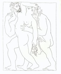 Pablo Picasso (Spanish, 1881-1973). Vertumne poursuit Pomone de son amour, 1930. Etching on Japan paper, laid down on mat board with tape at left edge, Sheet: 12 7/8 x 10 in. (32.7 x 25.4 cm). Brooklyn Museum, By exchange, 36.915.28. © artist or artist's estate