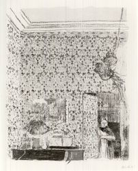 Édouard Vuillard (French, 1868-1940). Interior with Pink Wallpaper II (Intérieur aux tentures roses II), 1899. Color lithograph on China paper, Image: 13 13/16 x 10 15/16 in. (35.1 x 27.8 cm). Brooklyn Museum, By exchange, 37.149.7. © artist or artist's estate
