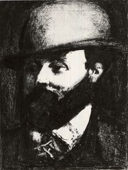 Georges Rouault (French, 1871-1958). Head of a Man with a Hat, Facing Left. Lithograph on wove paper, 9 1/8 x 6 13/16 in. (23.2 x 17.3 cm). Brooklyn Museum, Gift of J. B. Neumann, 37.31. © artist or artist's estate