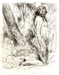 André Dunoyer de Segonzac (French, 1884-1974). Le Modèle a Genoux (or Nu a Genoux), 1924. Etching on wove paper, Image: 2 15/16 x 7 15/16 in. (7.4 x 20.1 cm). Brooklyn Museum, By exchange, 37.8. © artist or artist's estate