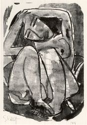 Karl Schmidt-Rottluff (German, 1884-1976). Woman (Weib), 1914. Lithograph on wove paper, Image: 11 1/2 x 7 7/8 in. (29.2 x 20 cm). Brooklyn Museum, By exchange, 38.128. © artist or artist's estate